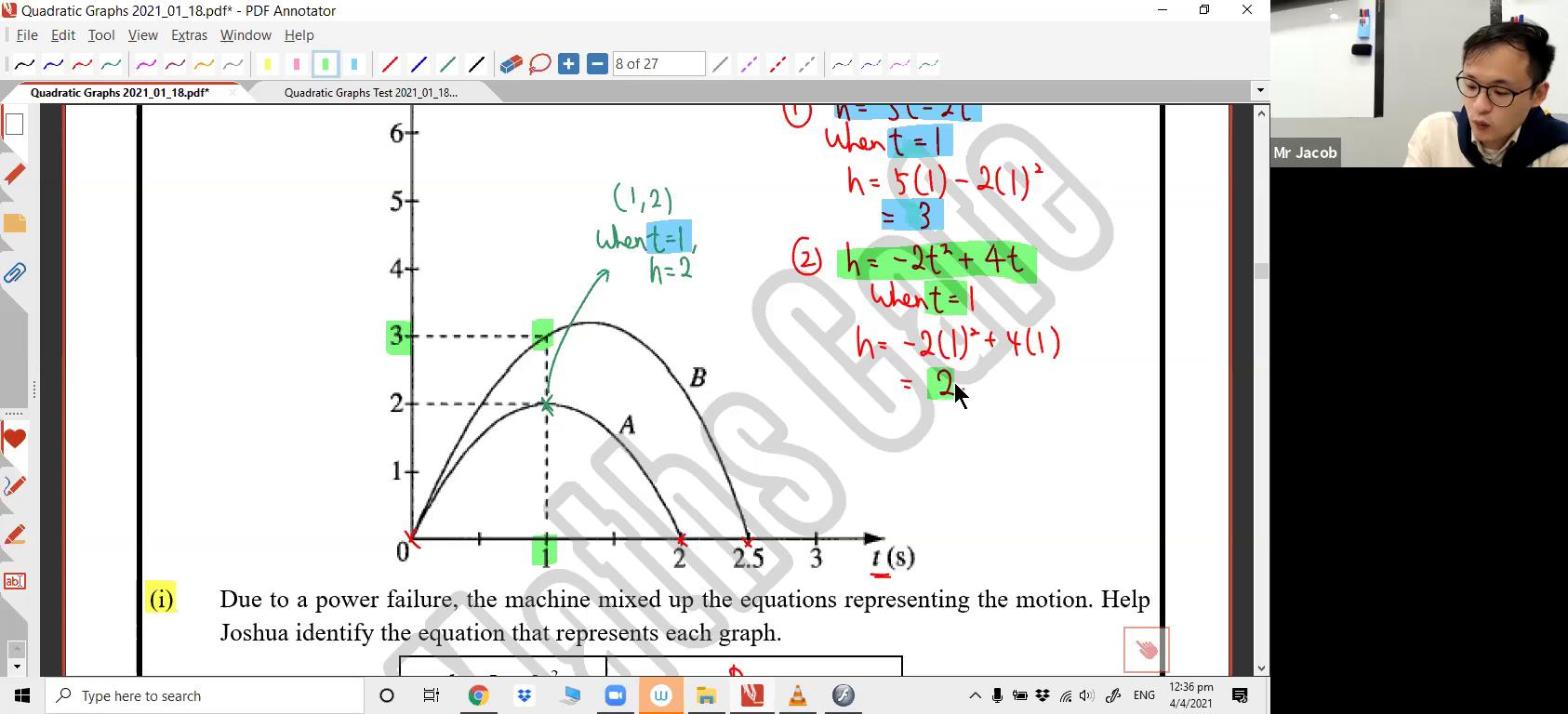 16. Quadratic Graphs 1