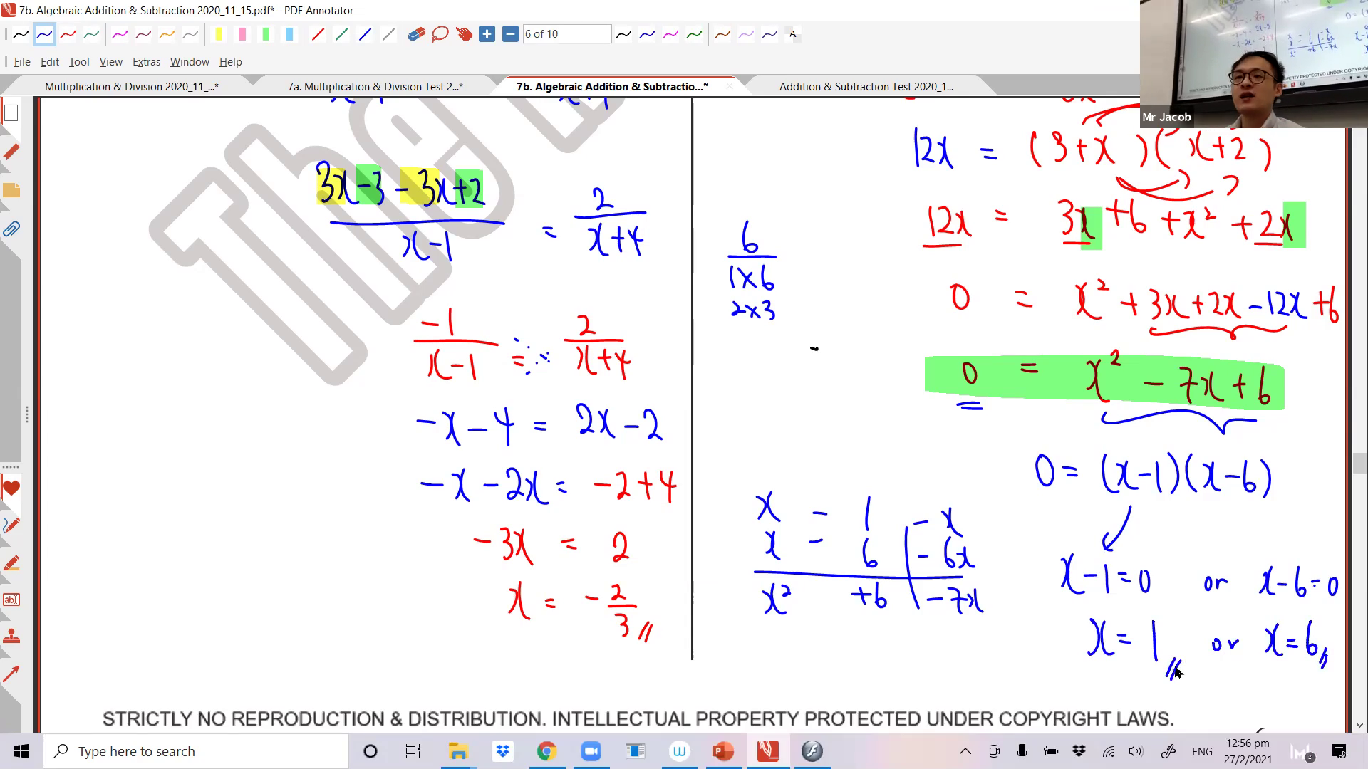[ALGEBRAIC FRACTIONS] Addition and Subtraction