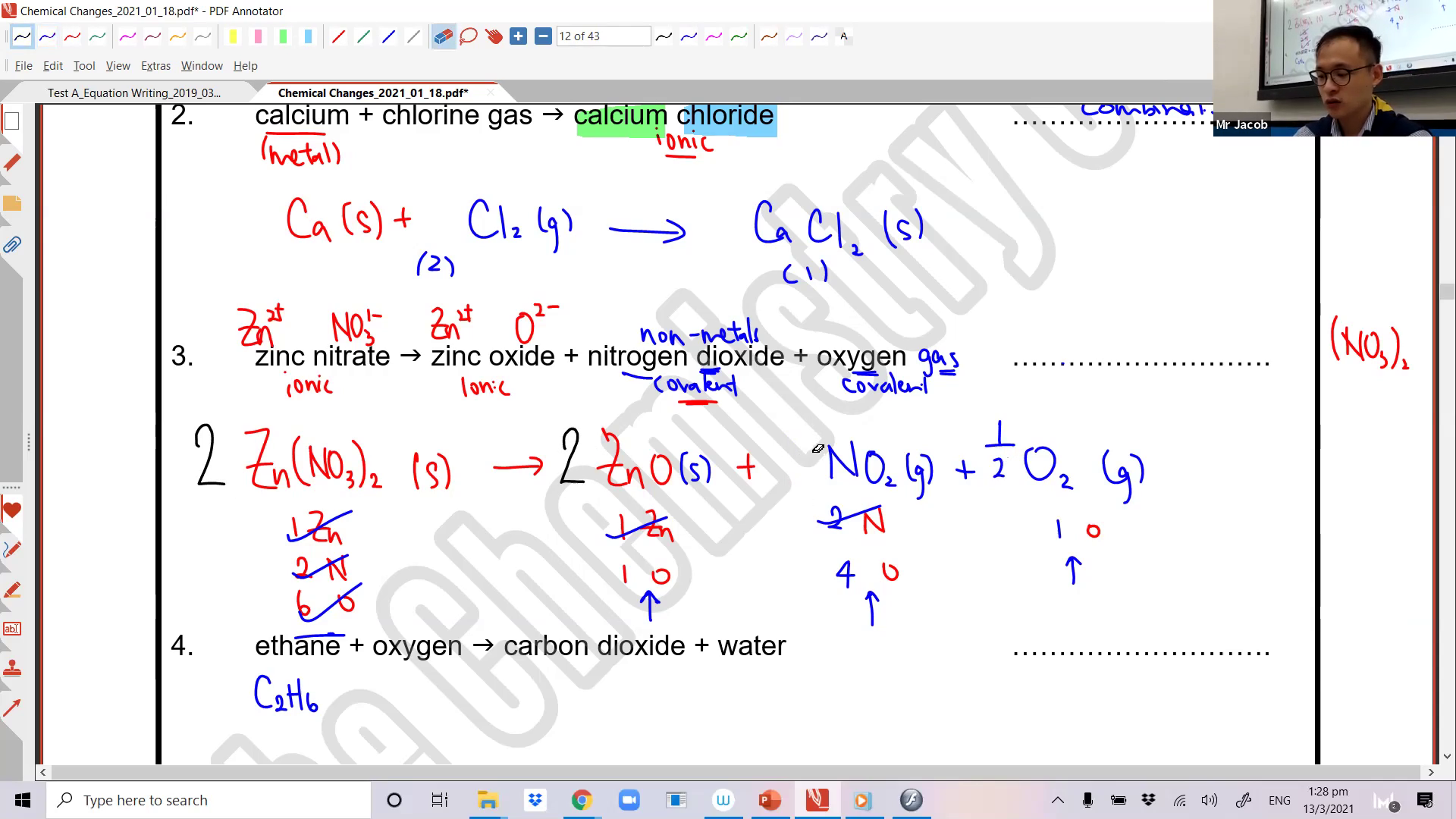 [CHEMICAL CHANGES] Types of Chemical Changes
