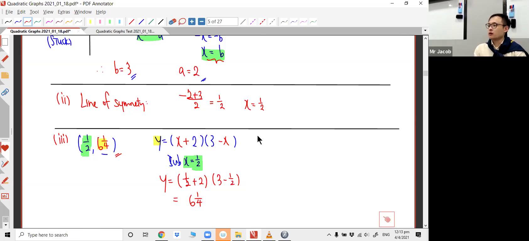 [QUADRATIC GRAPHS] Quadratic Graphs