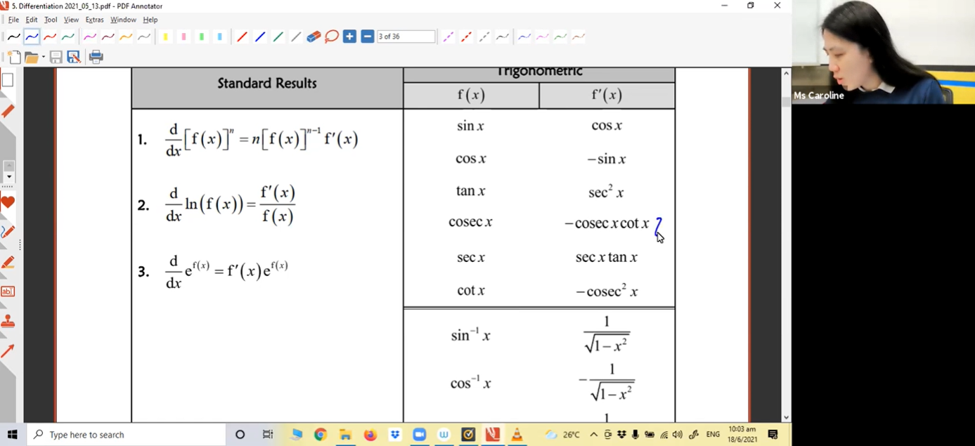 27. June Holidays Additional Lesson 1 - Differentiation
