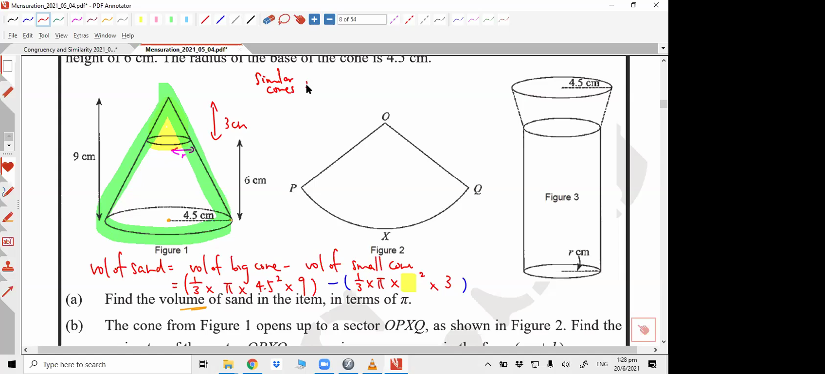 [MENSURATION] Volume and surface area of cones